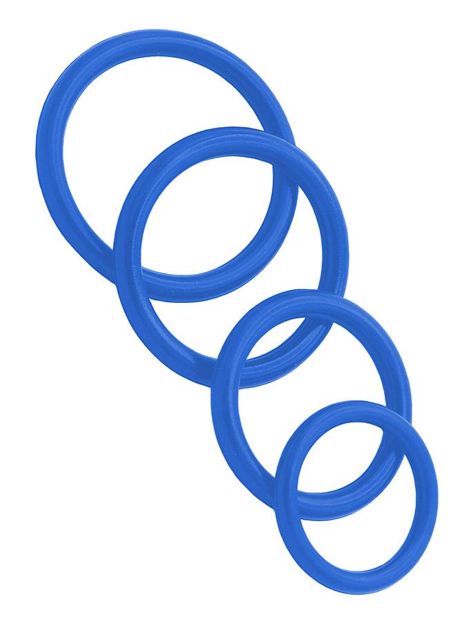 4 Rubber Cockring Set - Blue