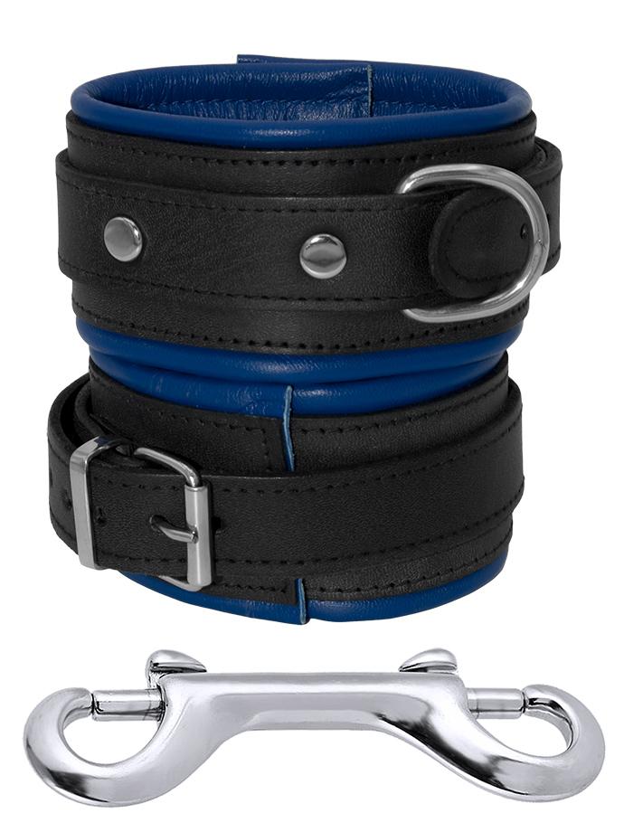 Leather Ankle Cuffs Black-Blue