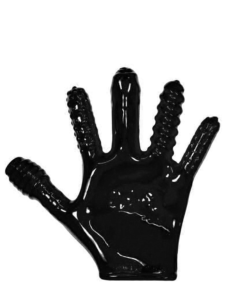 Finger-Fuck Textured Glove - Black