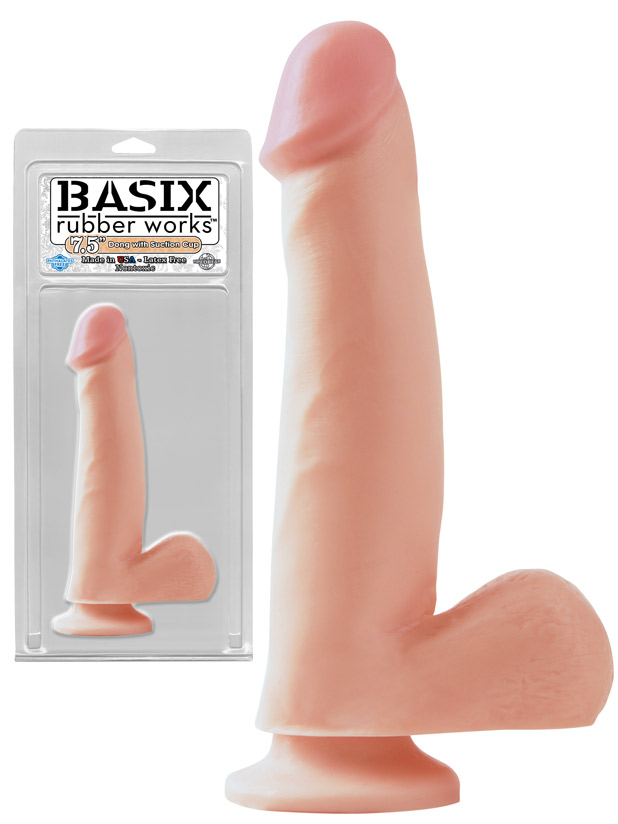 Basix 7.5 inch Dong Flesh with Suction Cup and Balls
