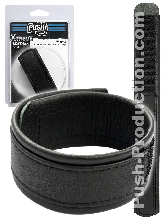 Push Xtreme Leather - Phoenix Cock & Ball Velcro Strap Large