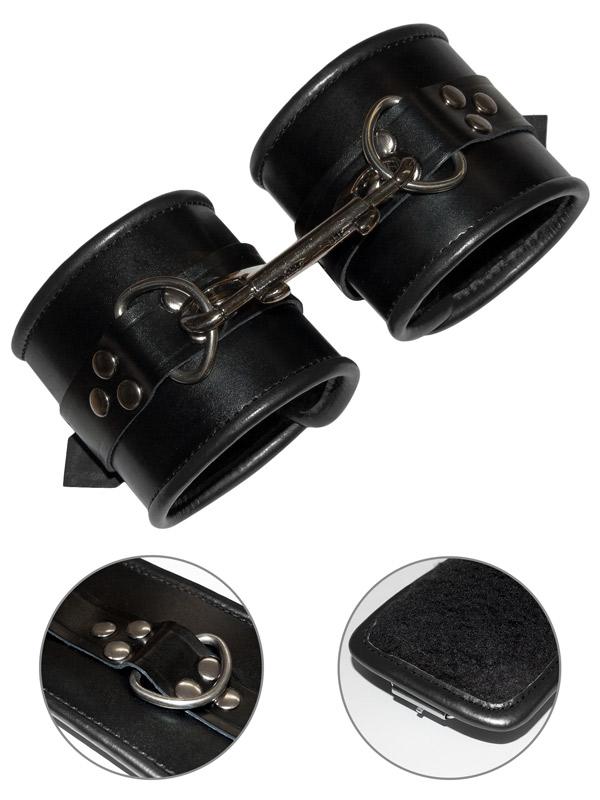 Black Padded Leather Restraint Cuffs